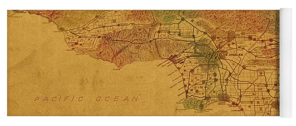 Map Of Los Angeles Yoga Mat featuring the mixed media Map Of Los Angeles Hand Drawn And Colored Schematic Illustration From 1916 On Worn Parchment by Design Turnpike