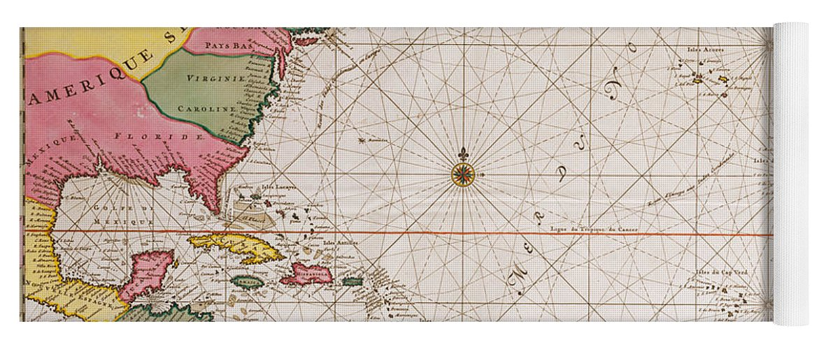 Map Of The Atlantic Ocean Showing The East Coast Of North America The  Caribbean And Central America Yoga Mat
