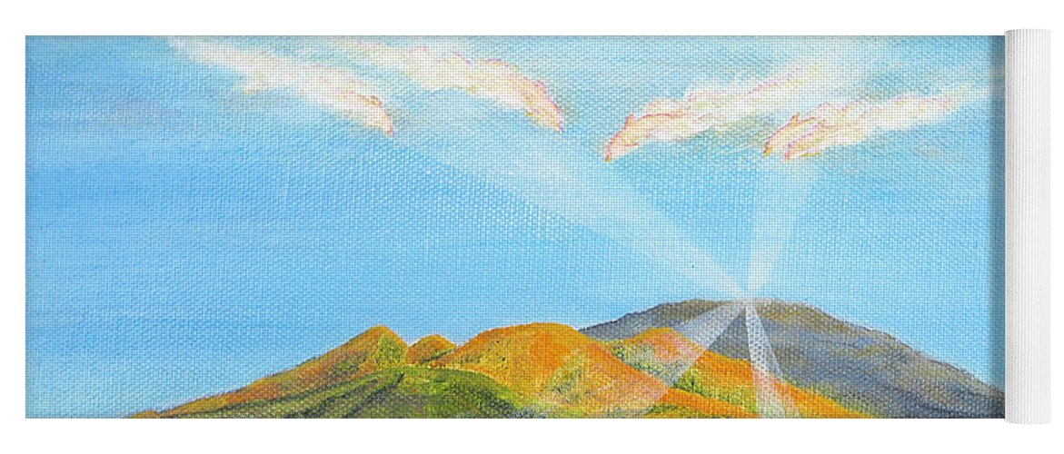 Maui Yoga Mat featuring the painting Maui Hawaii Sunrise with Whales by Jerome Stumphauzer