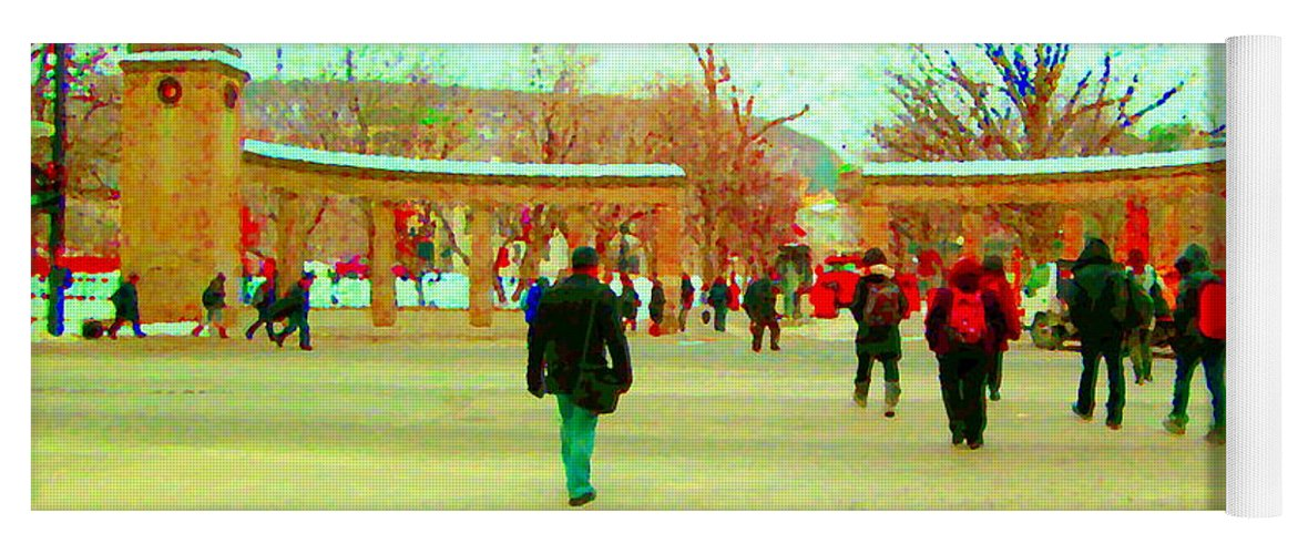 Yoga Mat featuring the painting Mcgill Univ Students And Faculty College Campus Montreal Memories Collectible Art Prints C Spandau by Carole Spandau