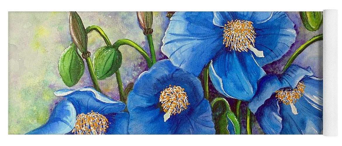 Blue Hymalayan Poppy Yoga Mat featuring the painting MECONOPSIS  Himalayan Blue Poppy by Karin Dawn Kelshall- Best