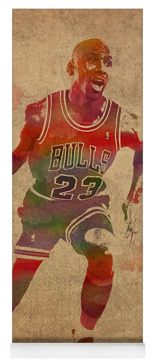 buy popular d807c 1990a Michael Jordan Chicago Bulls Vintage Basketball Player Watercolor Portrait  On Worn Distressed Canvas Yoga Mat