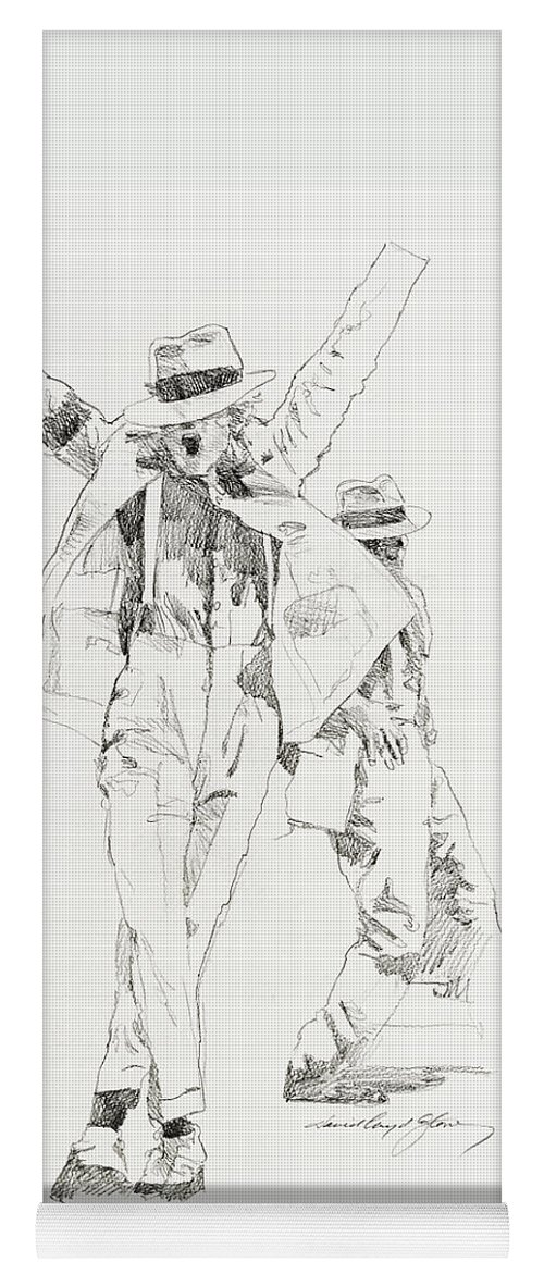 Michael Jackson Yoga Mat featuring the drawing Michael Smooth Criminal by David Lloyd Glover