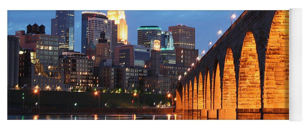 Minneapolis Skyline Yoga Mat featuring the photograph Minneapolis Skyline Photography Stone Arch Bridge by Wayne Moran