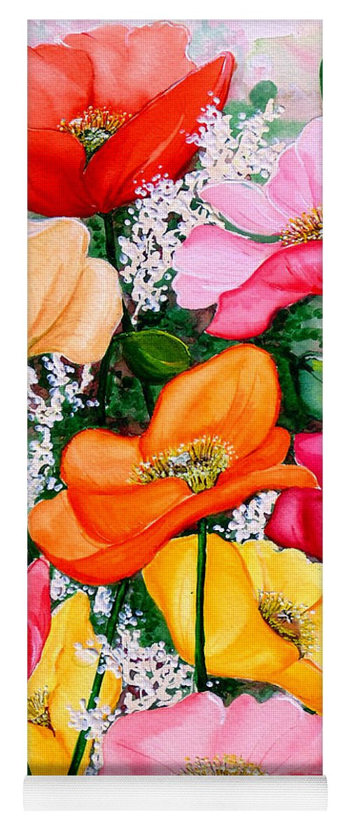 Poppies Yoga Mat featuring the painting Mixed Poppies by Karin Dawn Kelshall- Best
