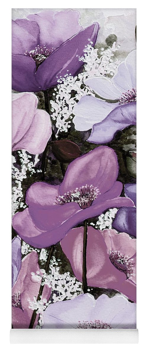 Purple Yoga Mat featuring the painting Mixed Poppies Purple by Karin Dawn Kelshall- Best