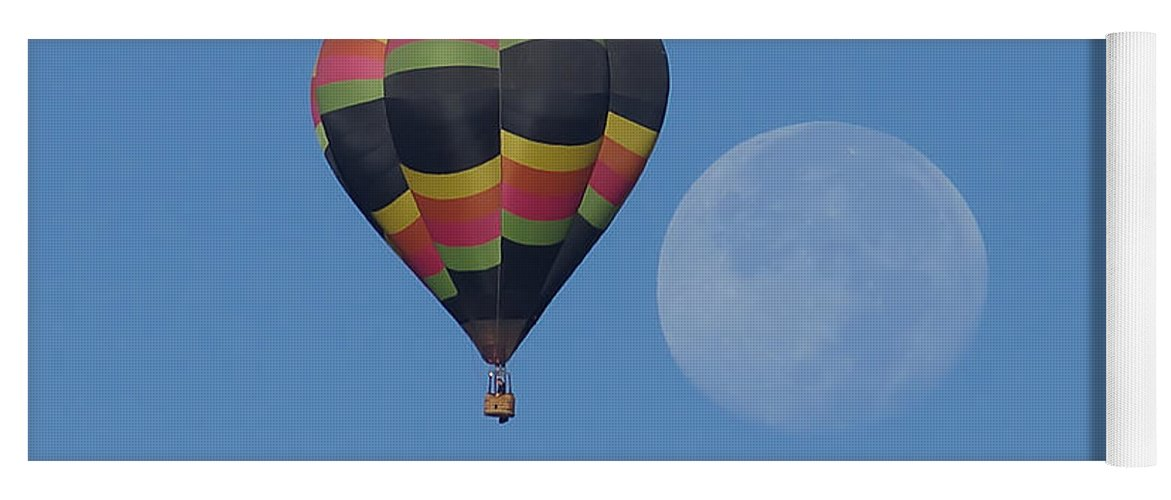Moon And Balloon Yoga Mat featuring the photograph Moon And Balloon by Ernie Echols