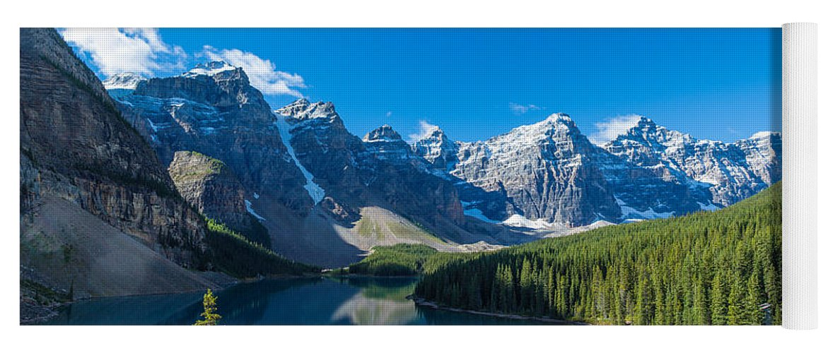 Photography Yoga Mat featuring the photograph Moraine Lake At Banff National Park by Panoramic Images