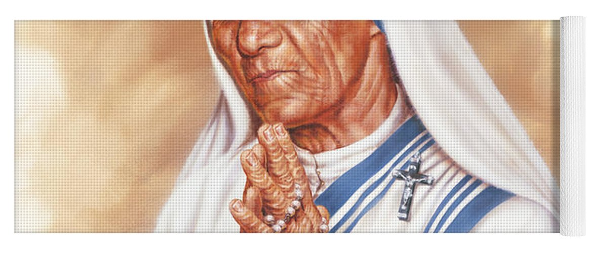 Portrait Yoga Mat featuring the painting Mother Teresa by Dick Bobnick