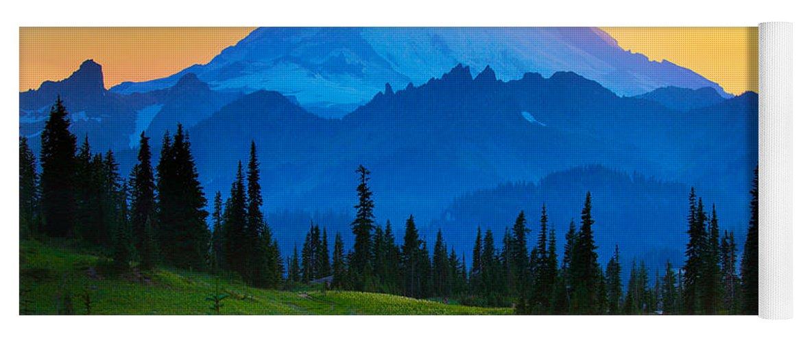 Mount Rainier Yoga Mat featuring the photograph Mount Rainier Goodnight by Inge Johnsson