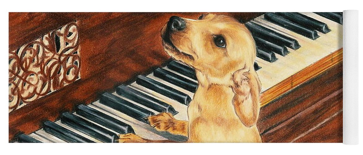 Purebred Dog Yoga Mat featuring the drawing Mozart's Apprentice by Barbara Keith