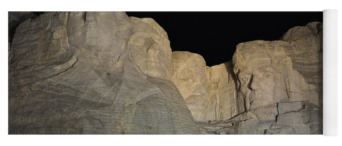 Mt Rushmore National Monument Yoga Mat featuring the photograph Mt. Rushmore at Night by Frank Madia