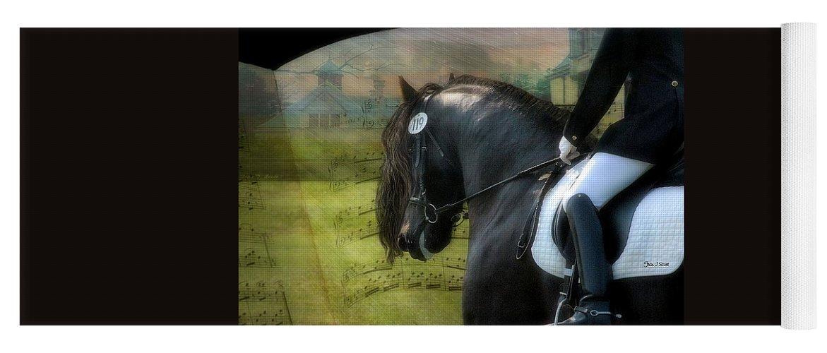 Friesian Horses Yoga Mat featuring the digital art Musical Freestyle by Fran J Scott