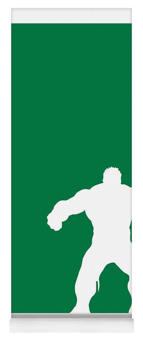 Superheroes Yoga Mat featuring the digital art My Superhero 01 Angry Green Minimal poster by Chungkong Art