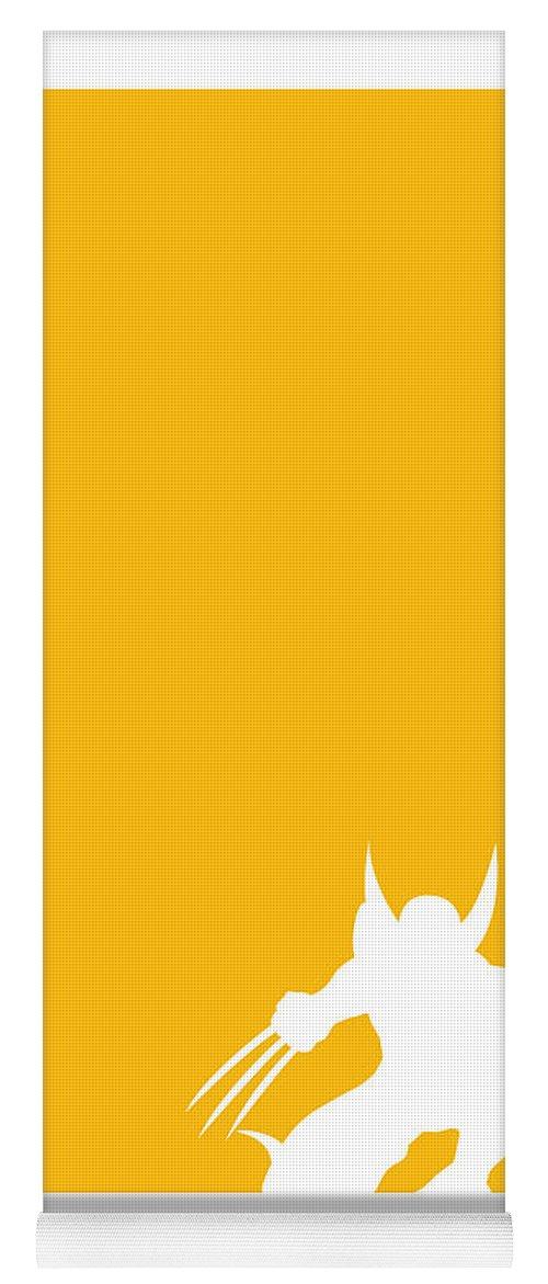 Superheroes Yoga Mat featuring the digital art My Superhero 05 Wolf Yellow Minimal poster by Chungkong Art