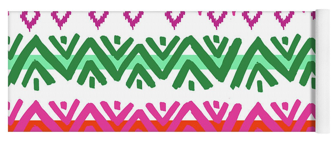 Southwest Yoga Mat featuring the digital art Navajo Mission Round by Nicholas Biscardi