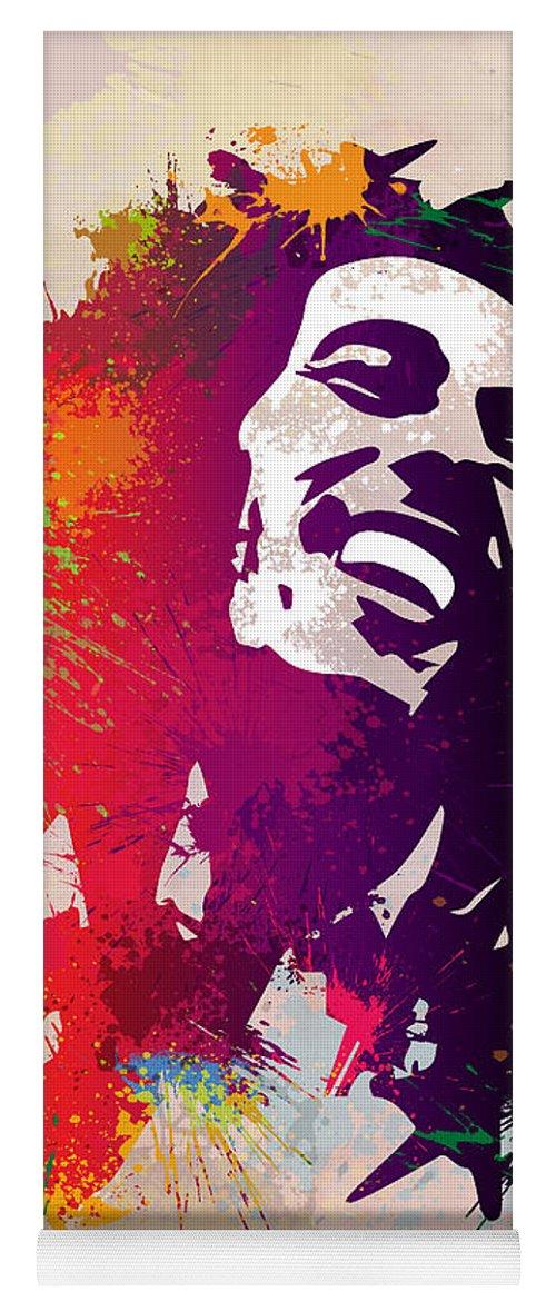Reggae Yoga Mat featuring the painting Nesta Robert by Anthony Mwangi