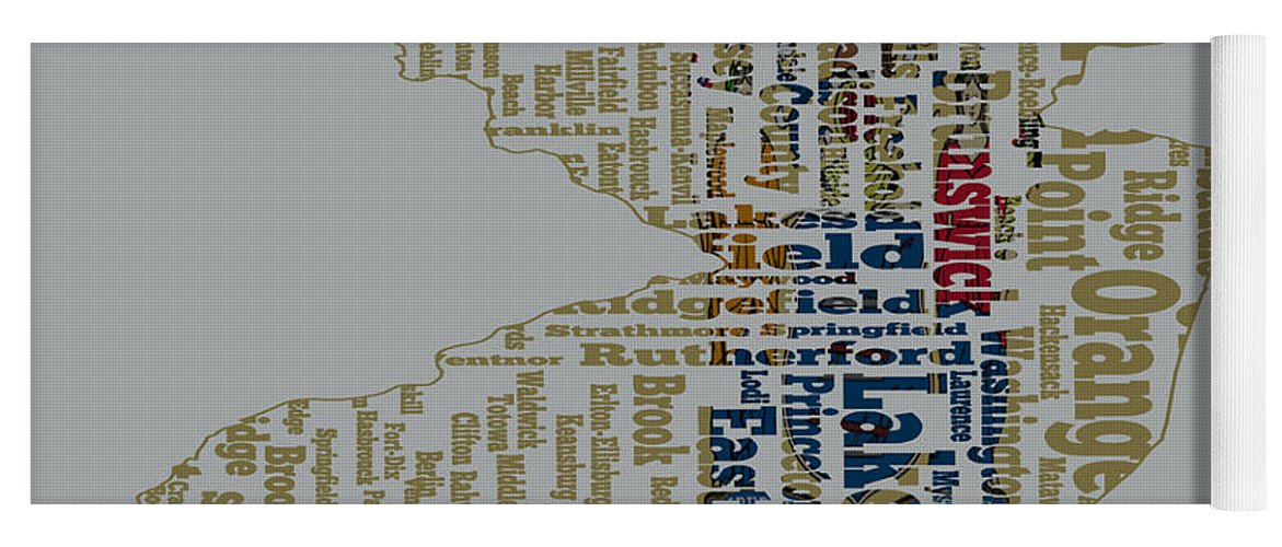 New Jersey Yoga Mat featuring the digital art New Jersey State Flag Word Cloud by Brian Reaves