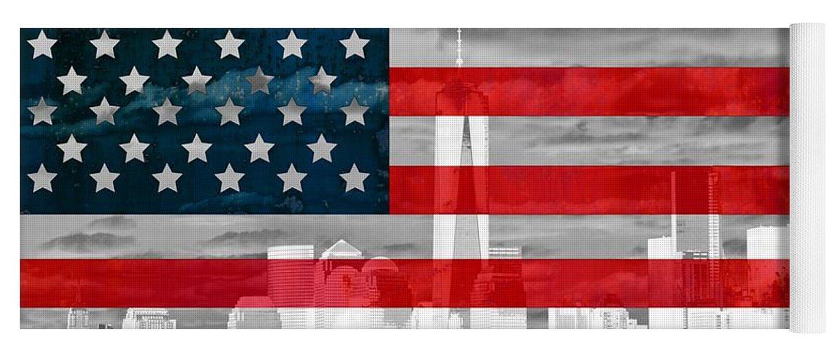 New York City And American Flag Yoga Mat featuring the mixed media New York City Skyline And American Flag by Dan Sproul