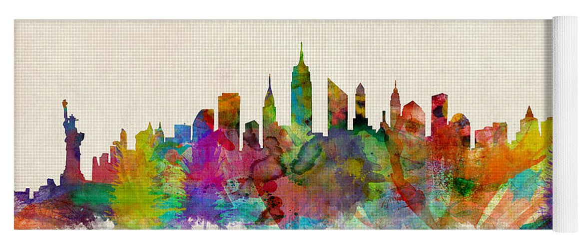 New York Yoga Mat featuring the digital art New York City Skyline by Michael Tompsett