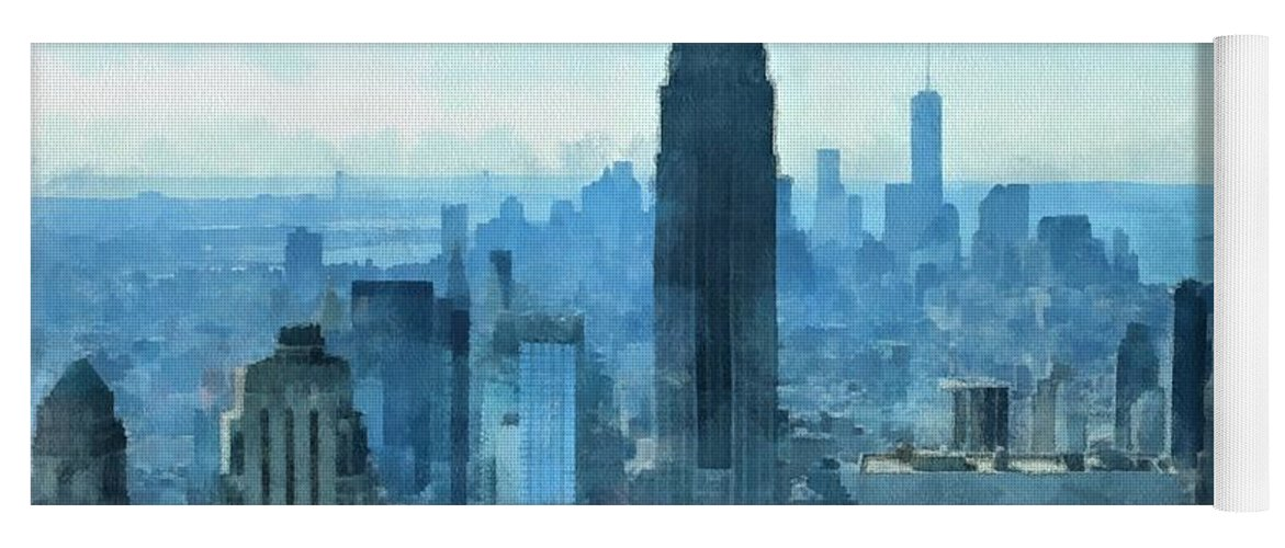 New York City Skyline Summer Day Yoga Mat featuring the mixed media New York City Skyline Summer Day by Dan Sproul