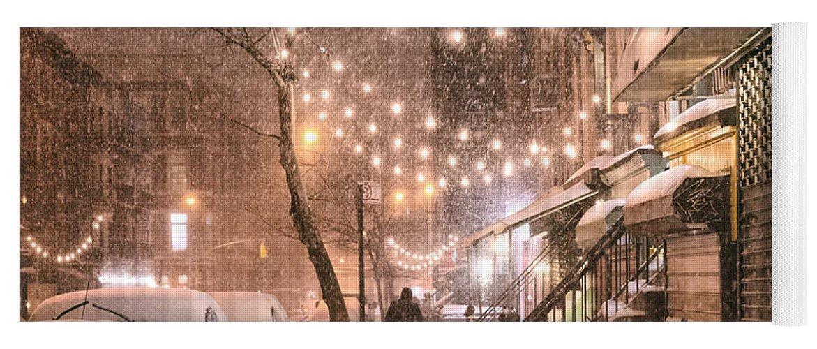 Nyc Yoga Mat featuring the photograph New York City - Winter Snow Scene - East Village by Vivienne Gucwa