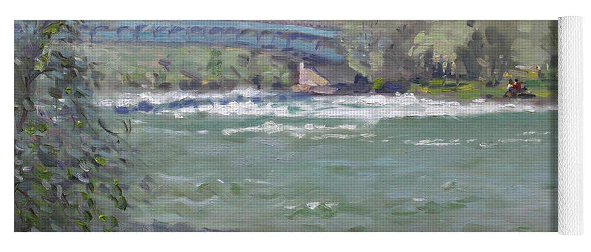 Niagara Falls Yoga Mat featuring the painting Niagara Falls River Ny by Ylli Haruni