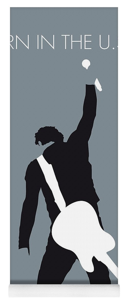 Bruce Yoga Mat featuring the digital art No017 My Bruce Springsteen Minimal Music Poster by Chungkong Art