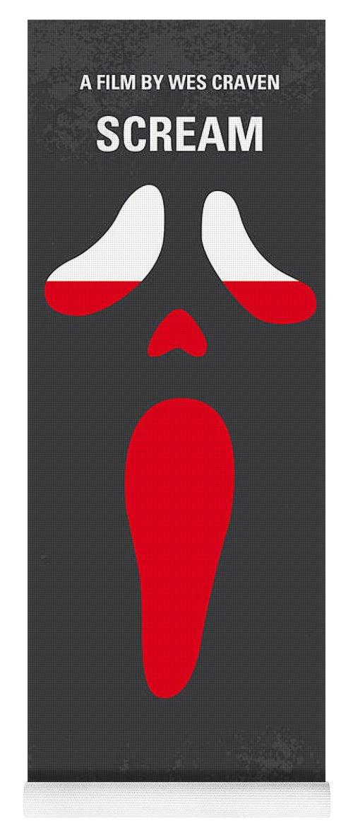 Scream Yoga Mat featuring the digital art No121 My Scream Minimal Movie Poster by Chungkong Art