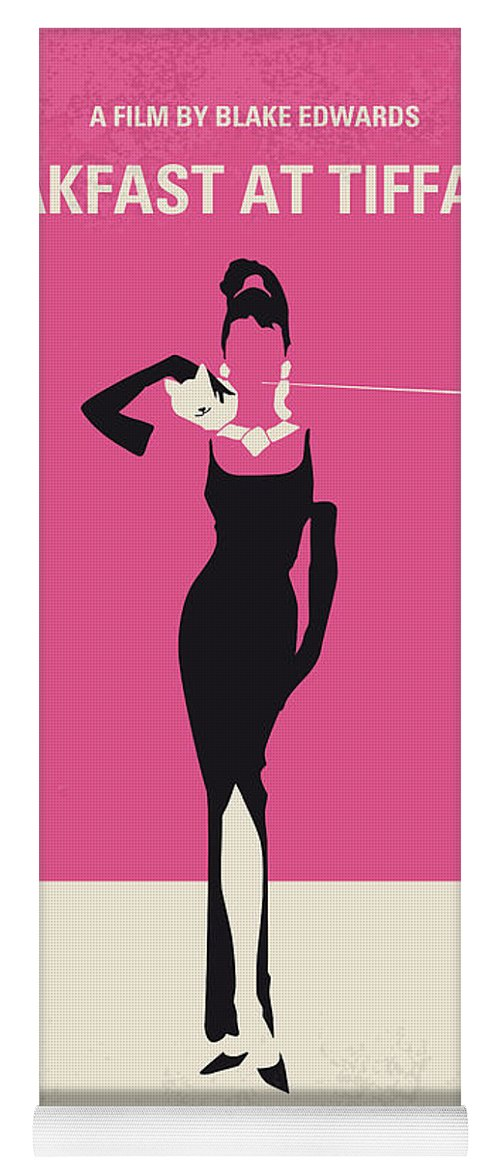 Breakfast Yoga Mat featuring the digital art No204 My Breakfast At Tiffanys Minimal Movie Poster by Chungkong Art