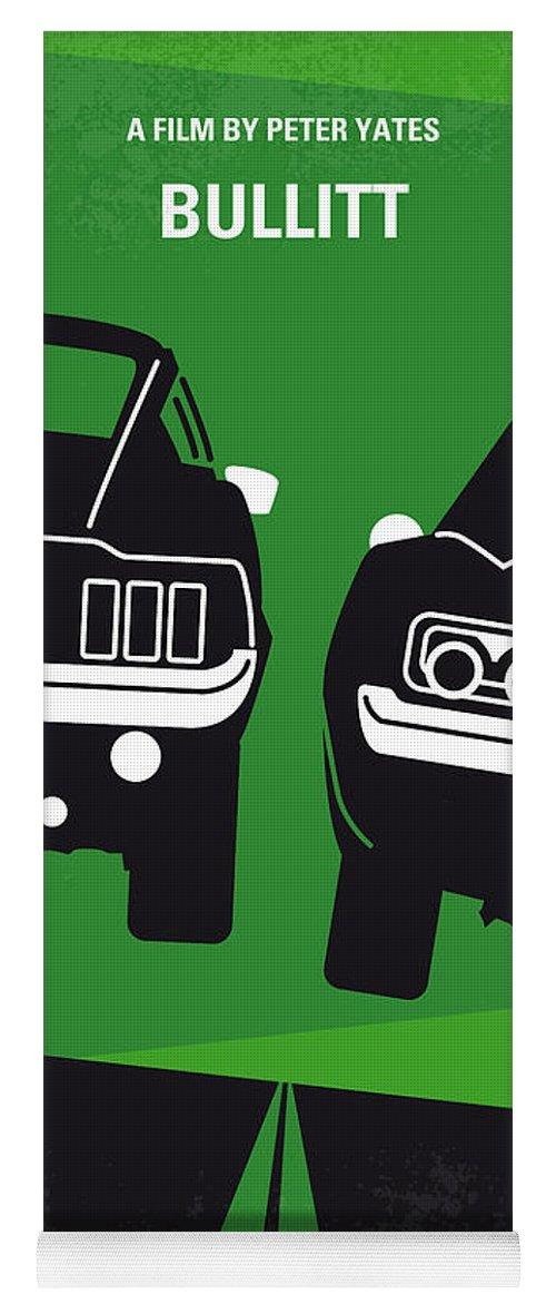 Frank Yoga Mat featuring the digital art No214 My BULLITT minimal movie poster by Chungkong Art