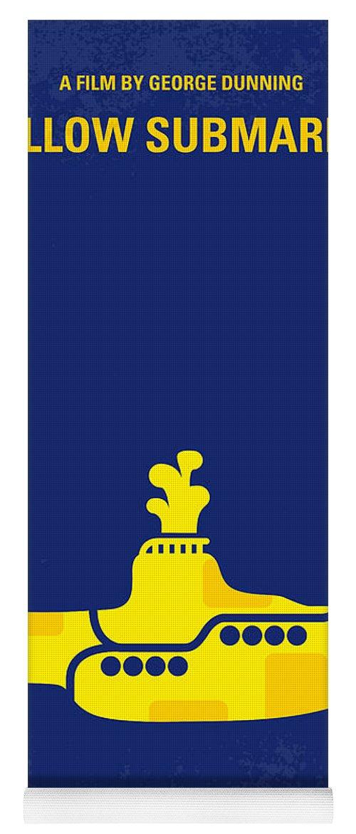 Yellow Yoga Mat featuring the digital art No257 My YELLOW SUBMARINE minimal movie poster by Chungkong Art