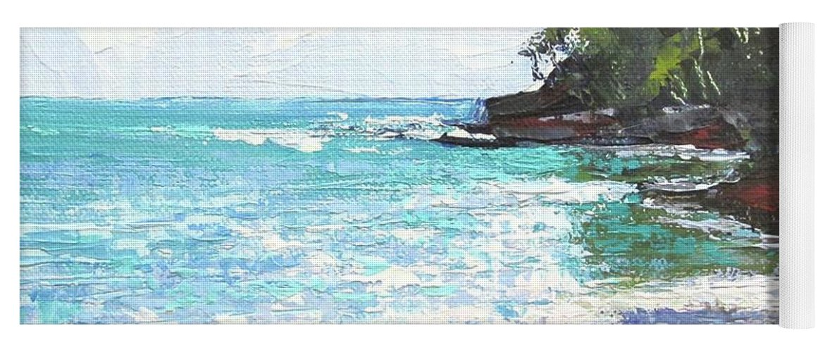 Seascape Yoga Mat featuring the painting Noosa Heads Main Beach Queensland Australia by Chris Hobel
