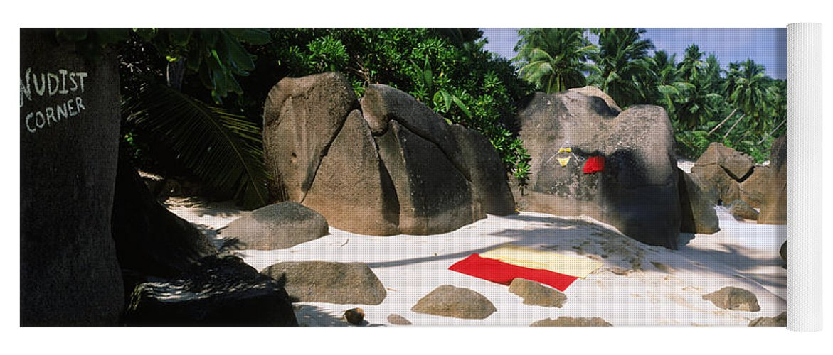 Photography Yoga Mat featuring the photograph Nudist Corner Written On A Rock by Panoramic Images