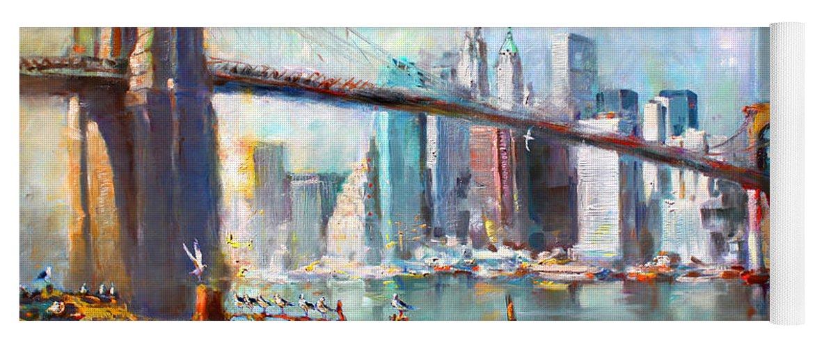 Nyc Yoga Mat featuring the painting NY City Brooklyn Bridge II by Ylli Haruni