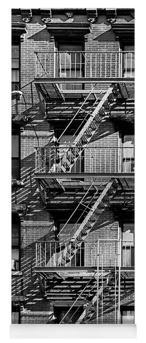 Fire Escape Yoga Mat Featuring The Photograph Nyc Fire Escape   Stairs And  Shadows In Black