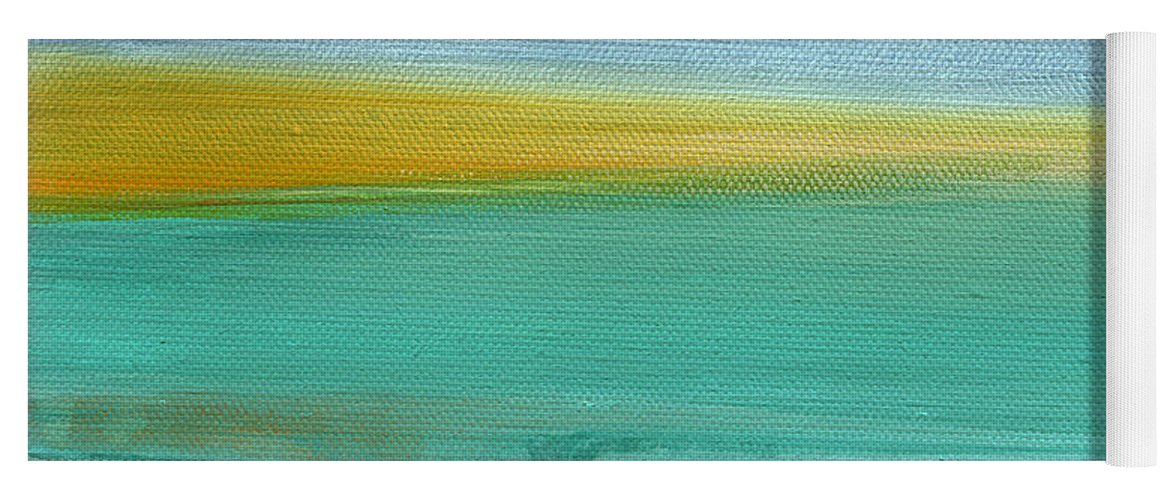 Abstract Yoga Mat featuring the painting Ocean Blue 3- Art By Linda Woods by Linda Woods