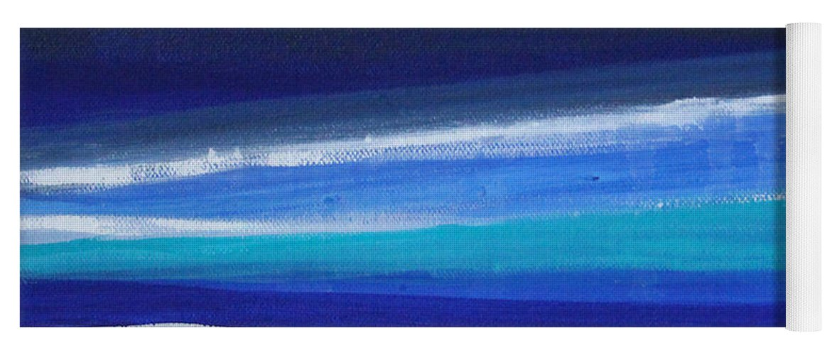Abstract Painting Yoga Mat featuring the painting Ocean Blue by Linda Woods