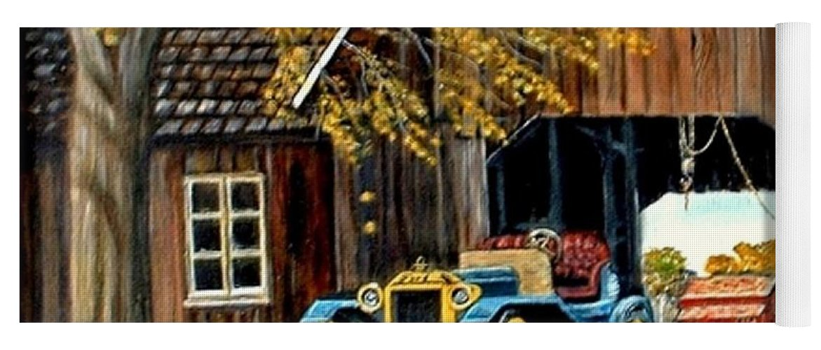 Old Barn Car Yoga Mat featuring the painting Old Barn and Old Car by Kenneth LePoidevin