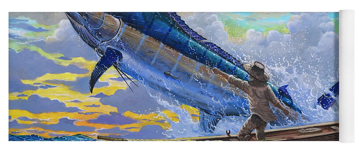 Marlin Yoga Mat featuring the painting Old Man And The Sea Off00133 by Carey Chen