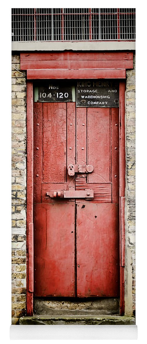 Door Yoga Mat Featuring The Photograph Old Red Door By Heather Applegate