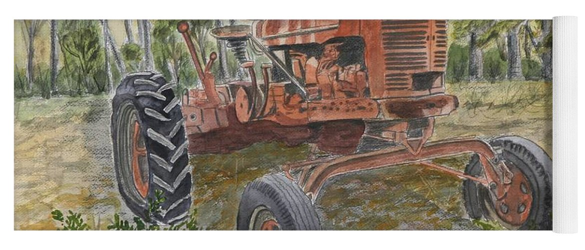Old Yoga Mat featuring the painting Old Tractor Vintage Art by Derek Mccrea