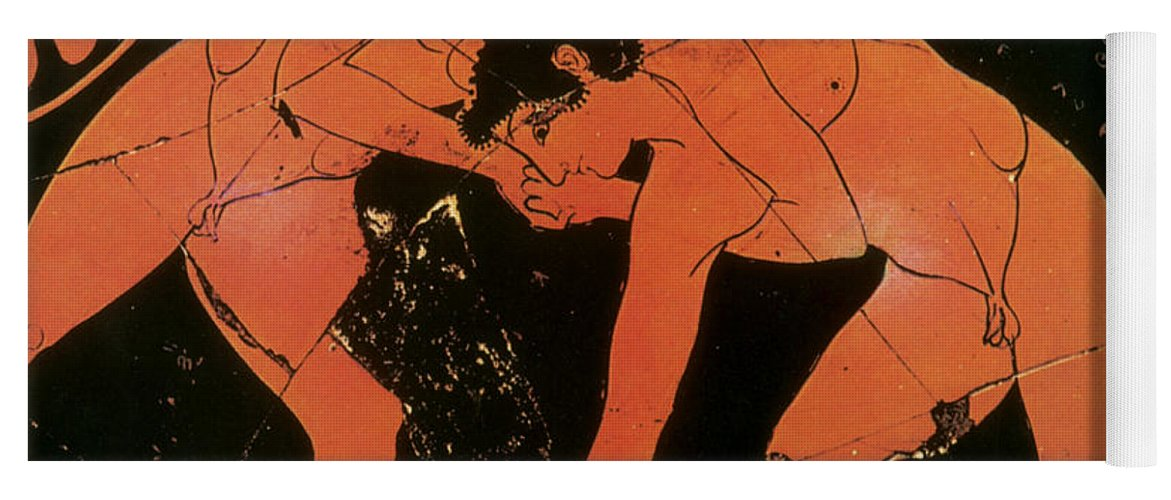Science Yoga Mat featuring the photograph Olympic Games, Wrestling, Red-figure by Science Source