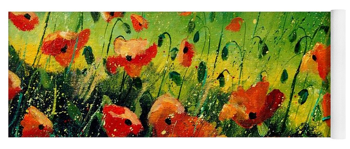Poppies Yoga Mat featuring the painting Orange poppies by Pol Ledent