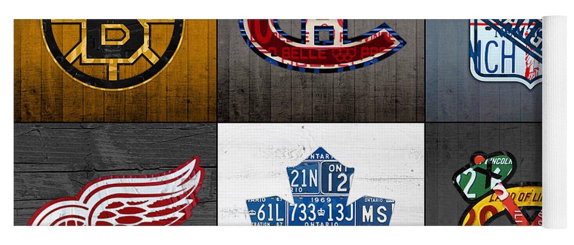 Original Six Yoga Mat featuring the mixed media Original Six Hockey Team Retro Logo Vintage Recycled License Plate Art by Design Turnpike
