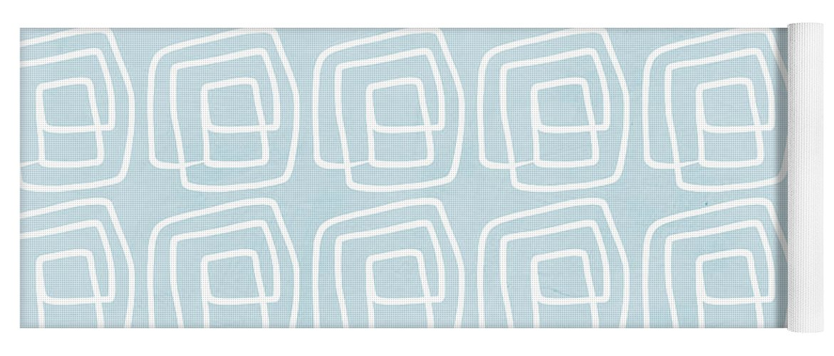 Boho Yoga Mat featuring the painting Out of The Box blue and white pattern by Linda Woods