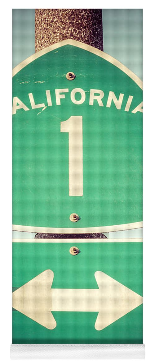 1950s Yoga Mat featuring the photograph Pacific Coast Highway Sign California State Route 1 by Paul Velgos