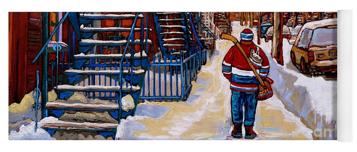 Montreal Yoga Mat featuring the painting Paintings Of Montreal Beautiful Staircases In Winter Walking Home After The Game By Carole Spandau by Carole Spandau