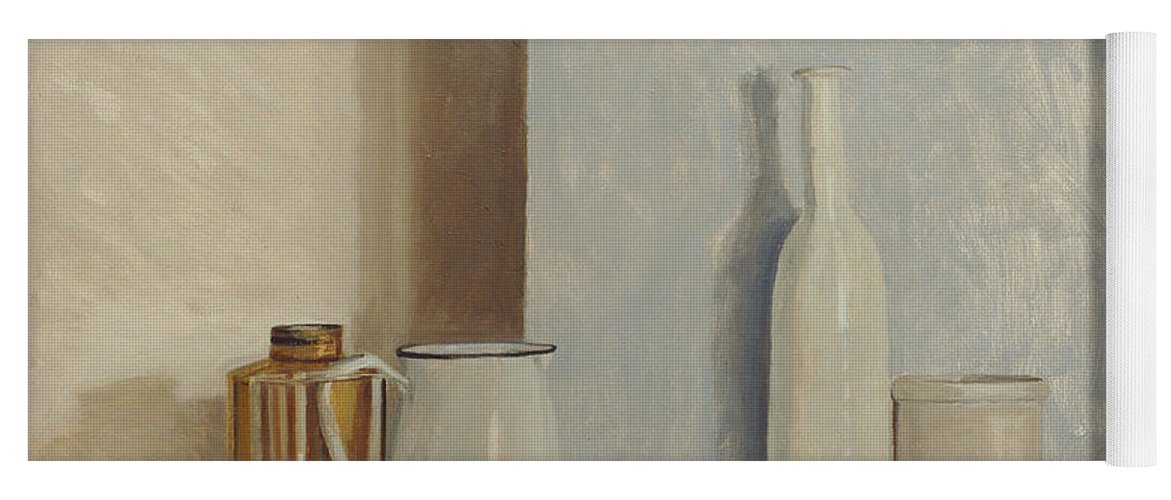 Still Life Yoga Mat featuring the painting Pale Grey And Blue by William Packer