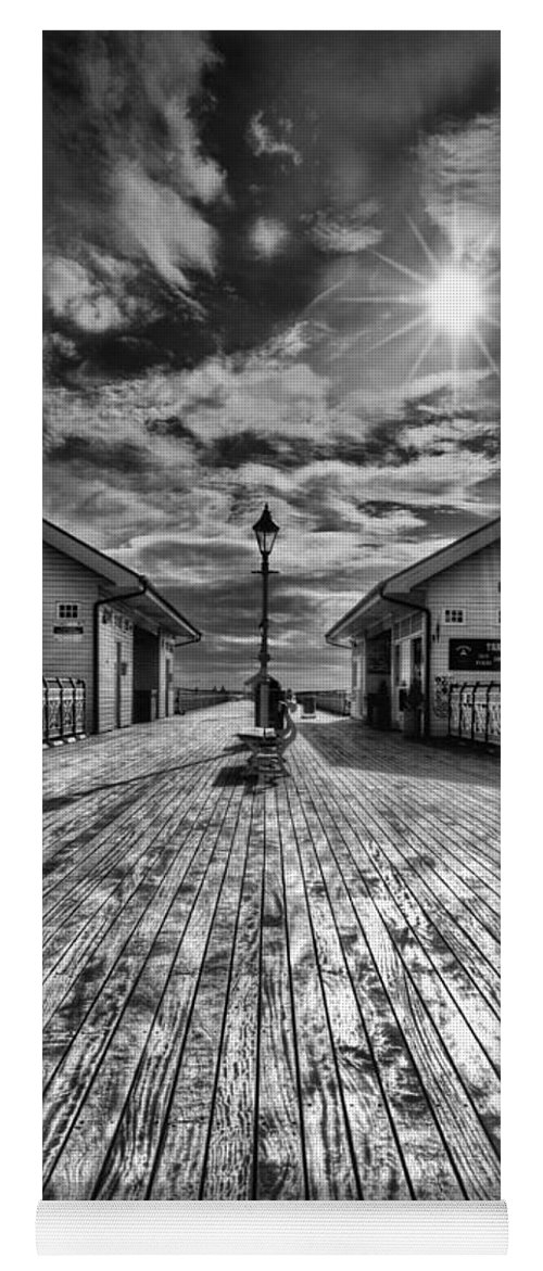 Penarth Pier Yoga Mat featuring the photograph Penarth Pier 2 Monochrome by Steve Purnell